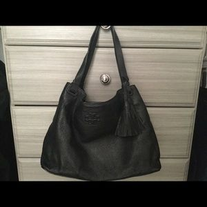 USED - TORY BURCH BLACK THEA LEATHER TOTE